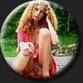 A very beautiful Soni (18) with curly hair in red summer dress and pantyhose without panties.